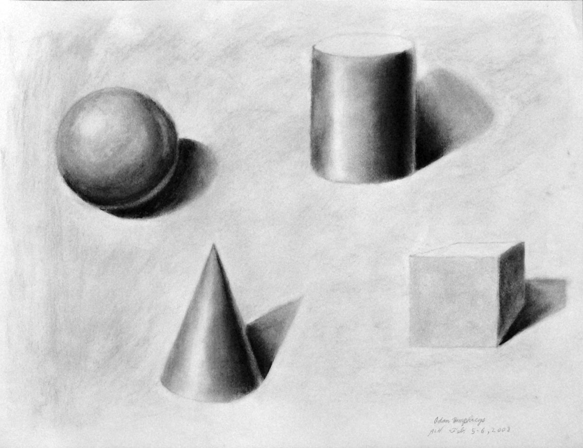 adam l humphreys four basic shapes shading of form charcoal. Black Bedroom Furniture Sets. Home Design Ideas